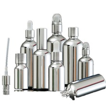 5ML 30ML 100ML Silver Glass Essential Oil Dropper Bottle Cosmetic Packaging Serum Lotion Pump Spray Atomizer Vial 15pcs