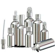 5ML 30ML 100ML srebrny szklana butelka z kroplomierzem fiolka opakowanie kosmetyczne surowicy pompka do płynu rozpylacz butelka 15 sztuk
