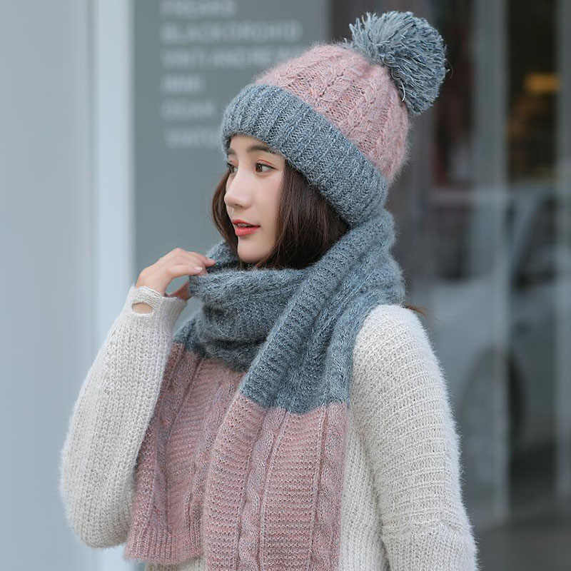 5c4bfb0c1de Hot Ski Girl 2018 New Brand Color matching Knitted Hats Scarf Hat Set Women s  Winter Hat