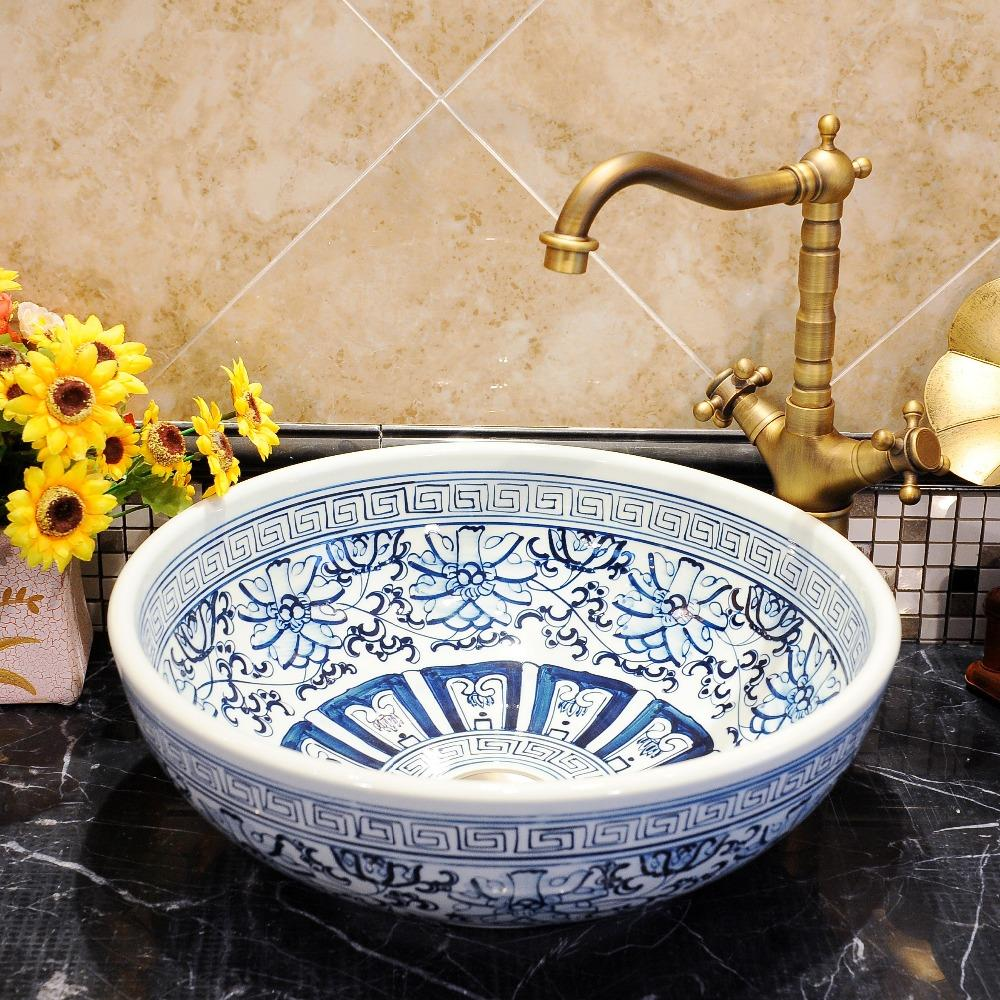 Chinese Antique ceramic sinks china wash basin Ceramic Counter Top Wash Basin Bathroom Sinks Blue And White bathroom sink china. White Bathroom Countertops Promotion Shop for Promotional White