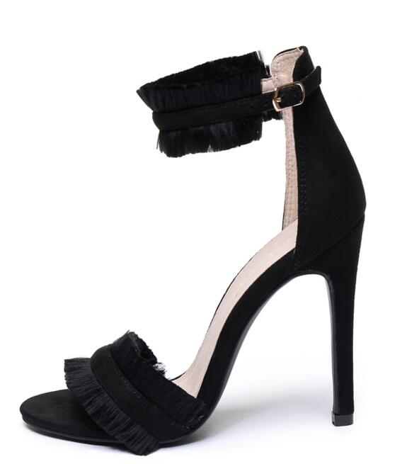 ФОТО 2017 Summer newest high heel sandal sexy open toe suede fringed ankle strap sandal cutouts gladiator sandal for woman black