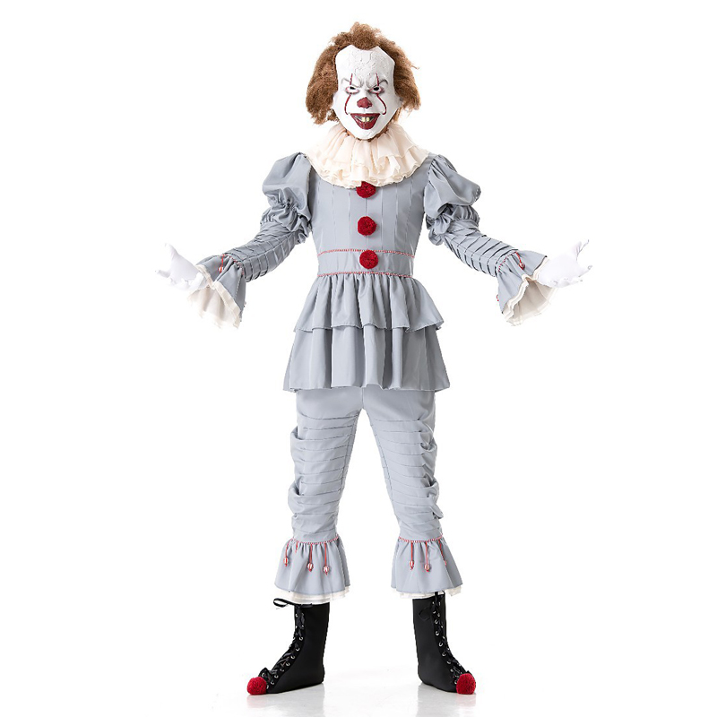 Adult Mens Grand Heritage IT Pennywise Stephen King's Killer Horror Clown Halloween Costume