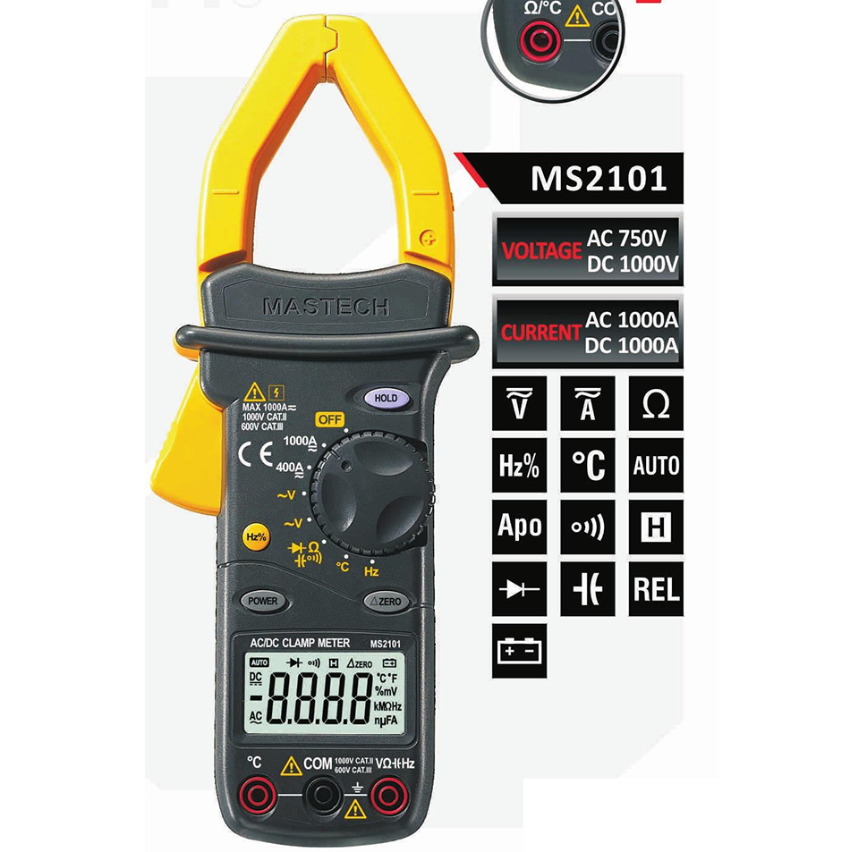 2017 New MASTECH MS2101 MS2001 AC/DC 1000A Digital Clamp Meter DMM Hz/C clamp meter measured capacitance frequency temperature digital lcr meter high precision at817d 50 hz 100ka hz 10 points l c r z d q brand new