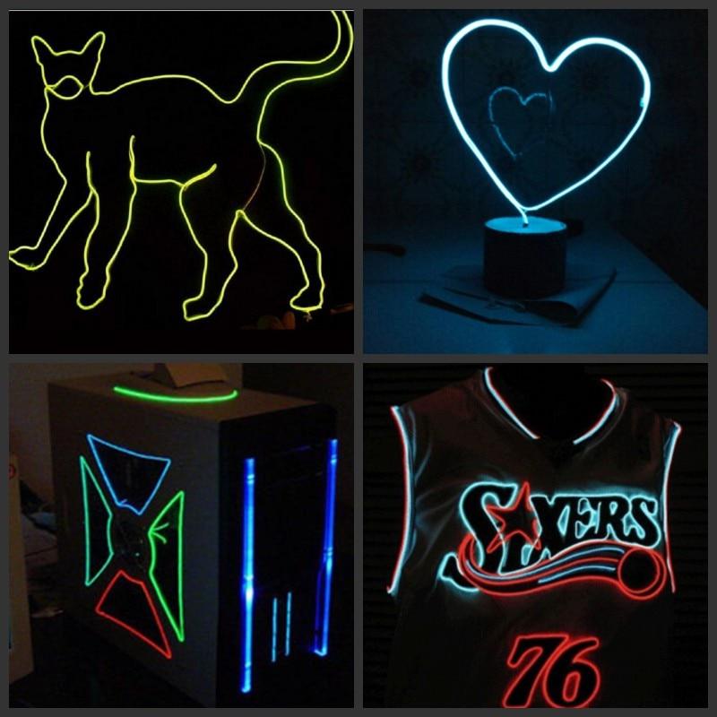 20 m/50 m/100 m néon lumière danse fête décor lumière lampe à LED Flexible EL câble Tube LED étanche bande + 12 v/220 v contrôleur