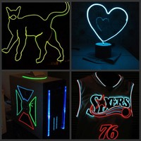 20m/50m/100m Neon Light Dance Party Decor Light LED lamp Flexible EL Wire Rope Tube Waterproof LED Strip + 12v / 220v Controller