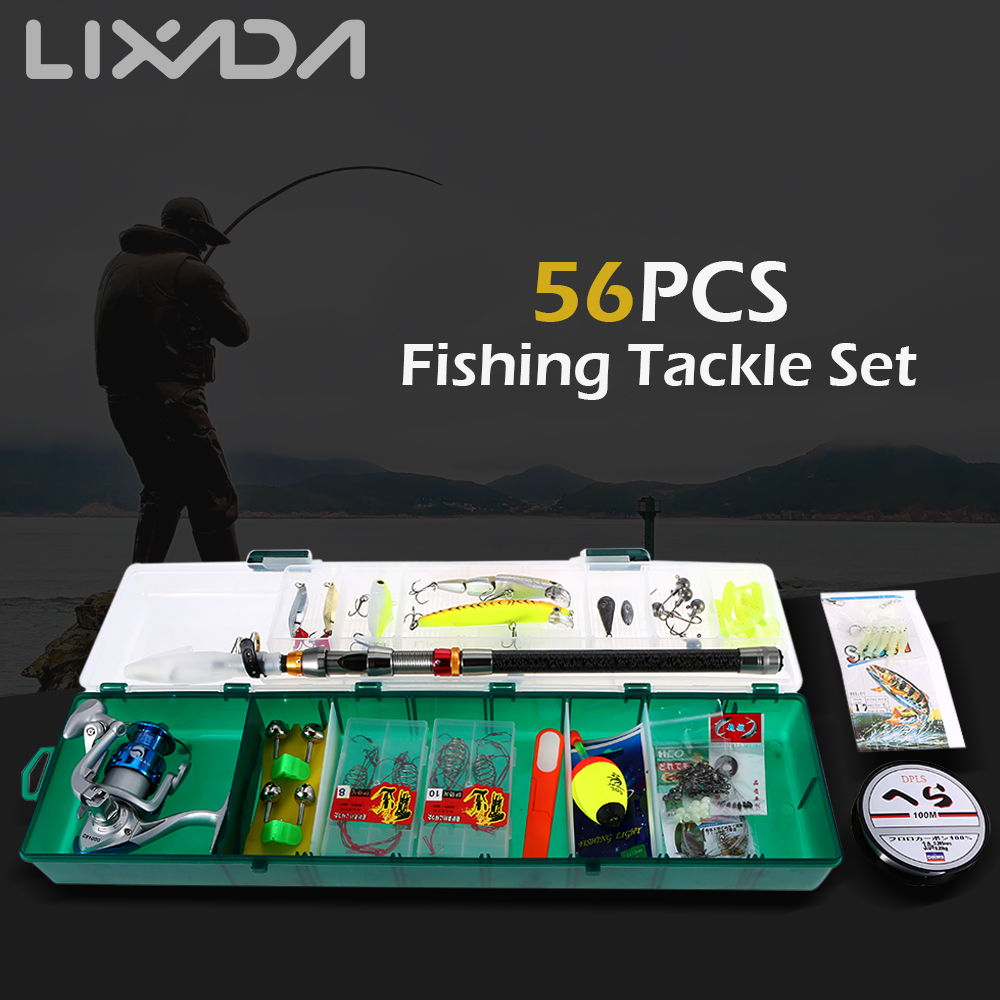 Lixada Fishing Tackle Set 56PCS with Telescopic Sea Fishing Rod Spinning Fishing Reel Fishing Box Kit