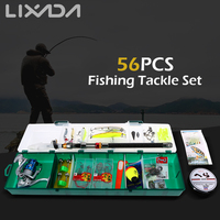 Lixada Fishing Tackle Set 56PCS with Telescopic Sea Fishing Rod Spinning Fishing Reel Fishing Box Kit with Baits Hooks