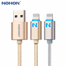 NOHON 8pin USB Cable LED Fast Charger Cable For iPhone 8 7 6 6S Plus 5 5S 5C iPad Mini iPad Air Data Sync Cable Auto Power Off