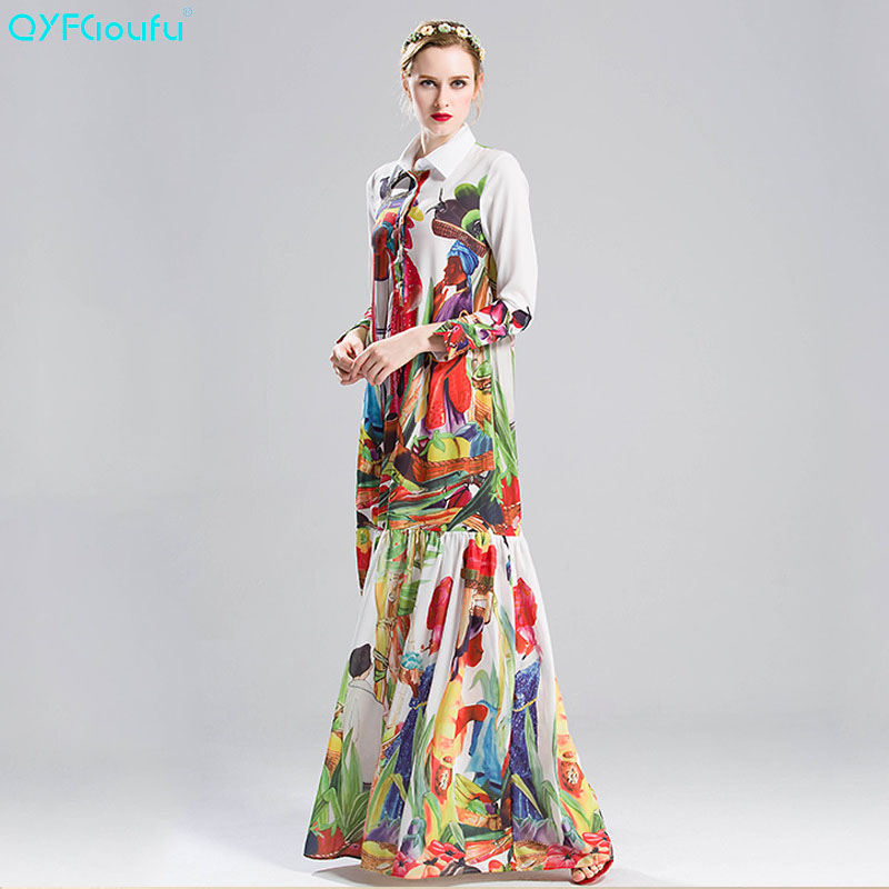 US $46.8 29% OFF|QYFCIOUFU 2018 Summer High Quality Runway casual boho Maxi  Dress Women Long sleeve Floral print Loose Beach Long Dress plus size-in ...