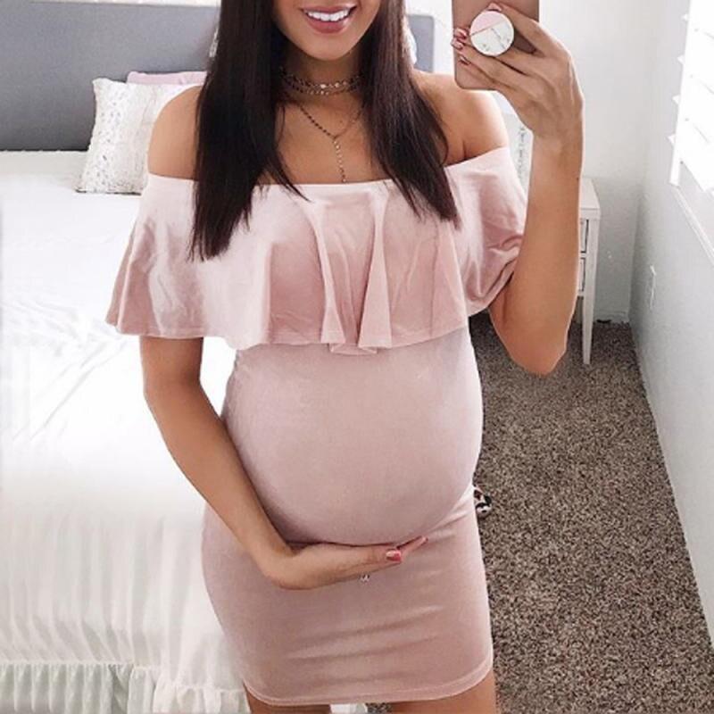 MUQGEW Fashion Womens Pregnants Off Shoulder Ruffles Solid Nursing Maternity Dress Long Maternity Dress Clothes For Photo Props