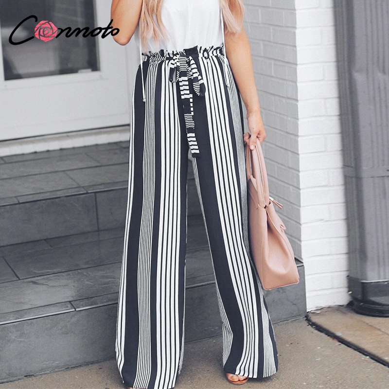 Conmoto High Waist Belt Striped   Pants     Wide     Leg     Pants   Women Beach Trousers Elegant Loose Chic sash casual   pants   capris female