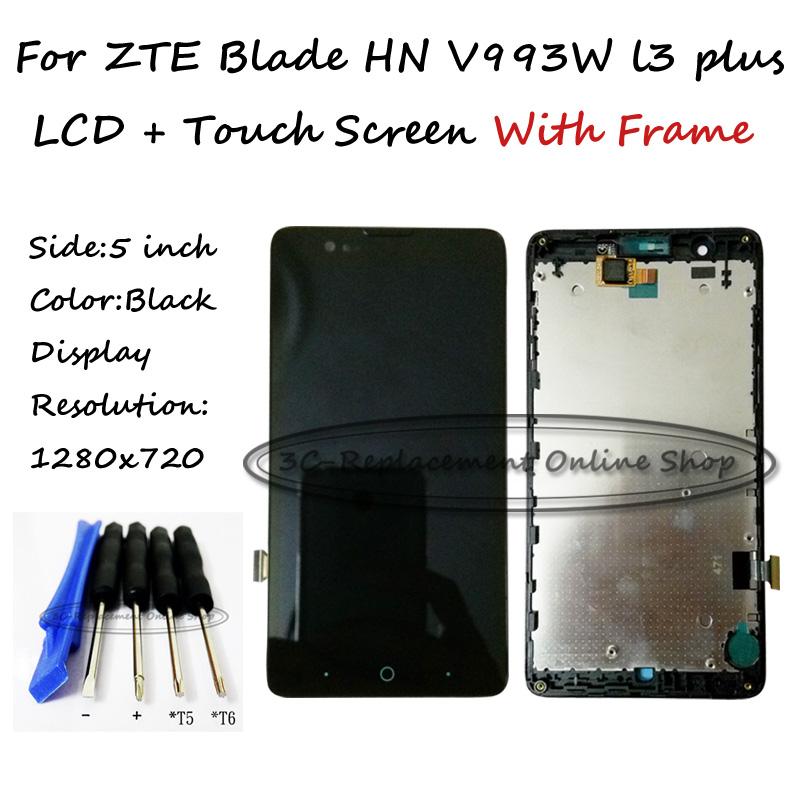 Prix pour LCD + TP + Cadre + Outils Pour ZTE Lame HN V993W l3 plus Écran lcd avec Écran Tactile Digitizer Smartphone Remplacement Suivi De Commande