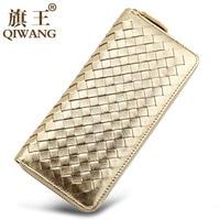 Genuine Leather Gold Weave Women Wallet Sheepskin Female Long Purse Luxury Soft Card Holder Wallet High Quality