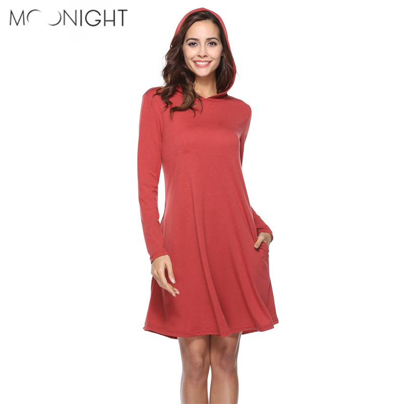 MOONIGHT Women Summer Casual Dress Spring Long Sleeve Solid Hooded Dress Ladies Loose Dresses
