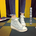Denim Fashion Canvas Shoes For Woman Wedge Heel 2017 Spring New Female Rivet Lacing Casual Shoes Zapatillas Femeninas