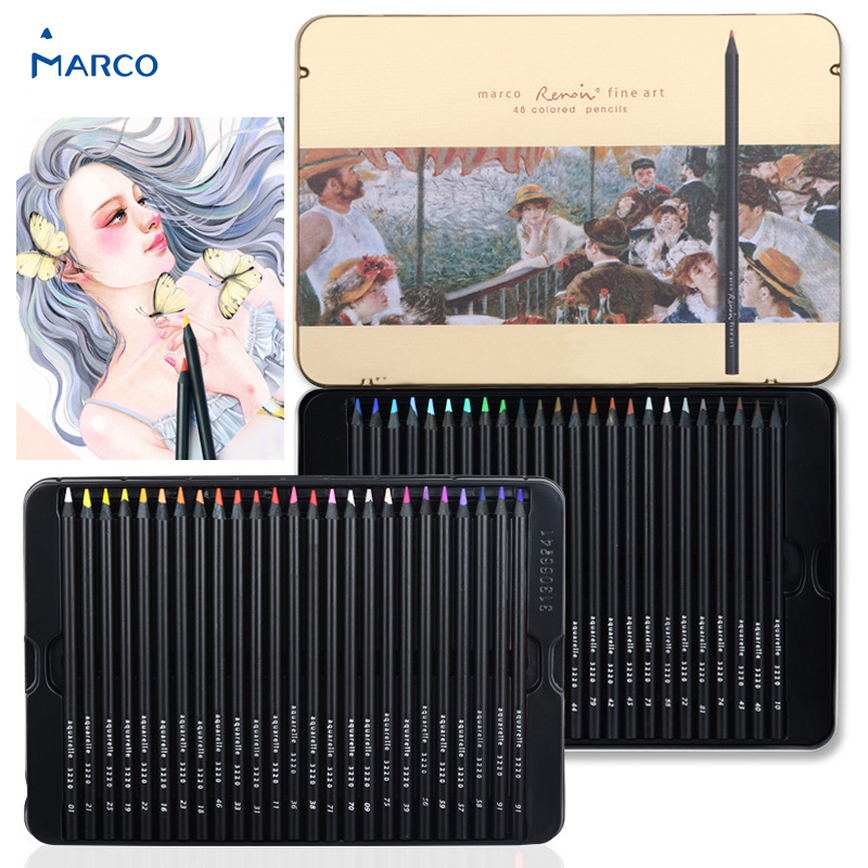 Marco 3200 Renoir premier Colored Pencils, Lunch on the Yacht, 24/36/48 Colors Oil Based 3.7mm blendable crafted with wood крем premier on the spot relief