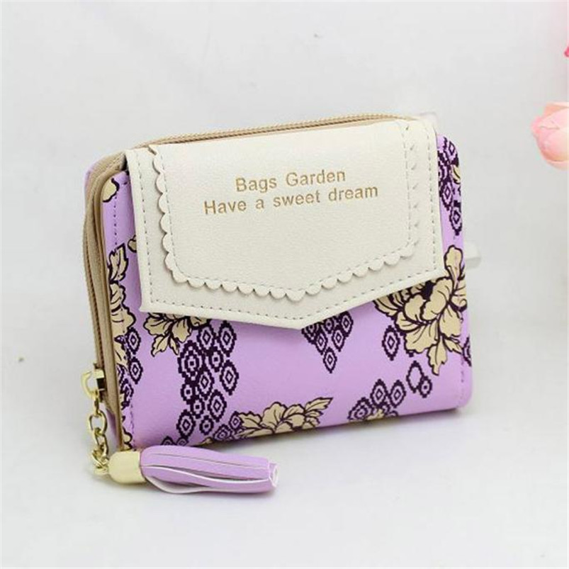 2018 New Fashion Envelope Women Wallet Hit Color Flowers Printing 5 Colors PU Leather Wallet Small Ladies Clutch Coin Purse