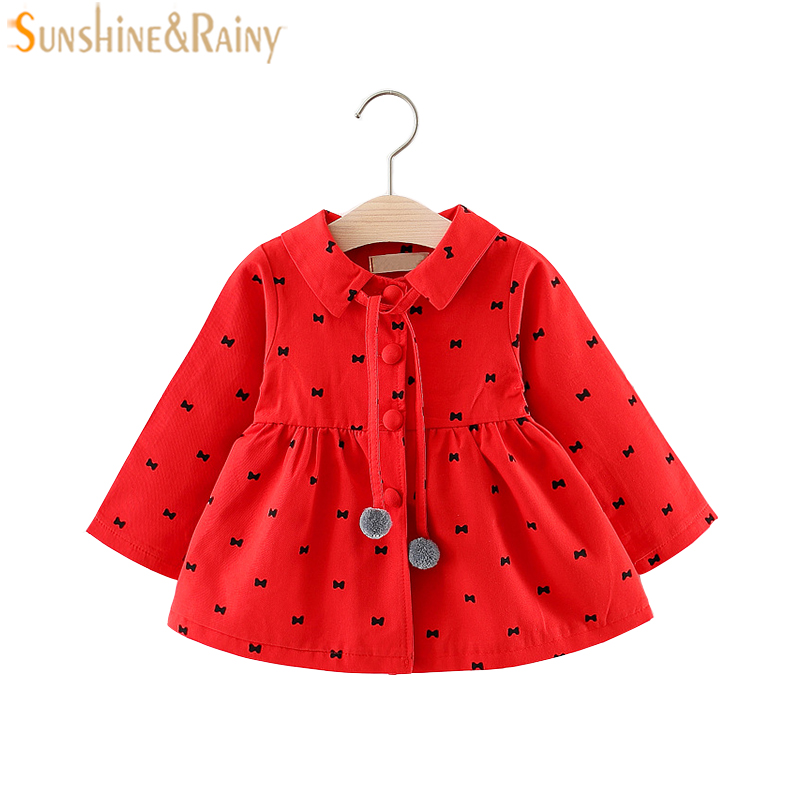 1-3T Baby Girls Jackets 2018 Spring Autumn Dot Cotton Coat Windbreaker For Girls Outerwear Jacket Toddler Kids Casual Coat