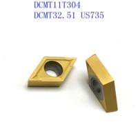 vp15tf ue6020 20PCS DCMT11T304 / DCMT32.51 VP15TF / UE6020 / US735 קרביד להב פנימי מפנה מחרטה כלי CNC גַיֶצֶת כלי (1)