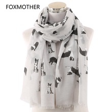 FOXMOTHER New Lightweight Grey White Pet Shepherd Dog Print Scarf For Lovers Shawl Wrap Animal Scarves Ladies