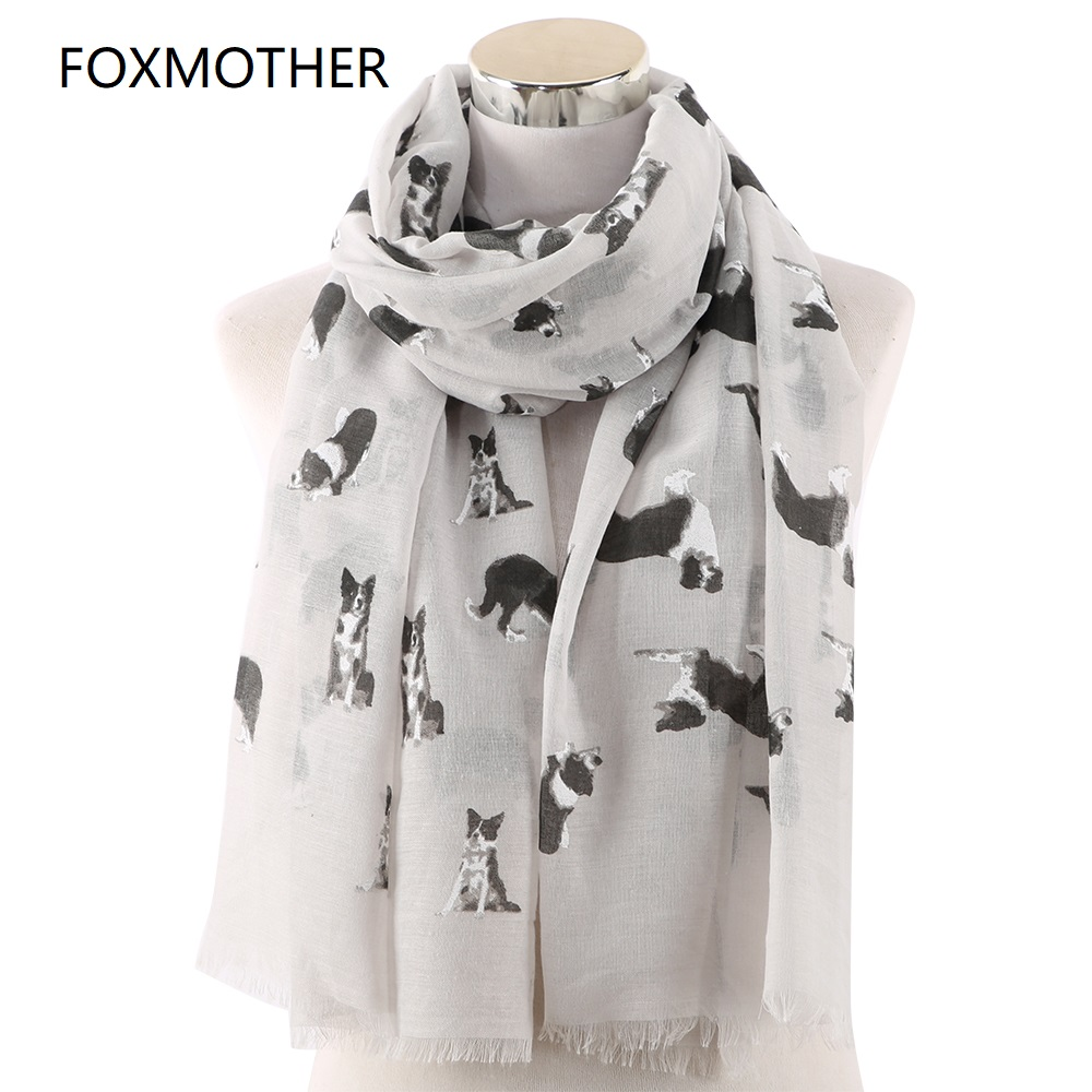 FOXMOTHER New Lightweight Grey White Pet Shepherd Dog Print   Scarf   For Dog Lovers Shawl   Wrap   Animal   Scarves   Ladies