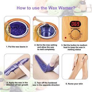 Image 3 - Podgrzewacz do wosku drewno grai elektryczna parafina naczynie do podgrzewania depilacja woskiem zestaw z wyświetlaczem LCD 4 smak wosku fasola Home Salon Spa