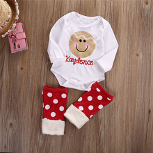 baby Girl Clothes Polka Dot Christmas Romper+Leg Warmer Set new born cotton children set