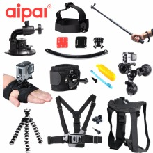 Action Camera Accessories Set Kit for Gopro hero 4 5 strap Selfie Stick Large Bag Car