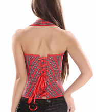 Sexy Women's Red Plaid Overbust Corset / Halter Bustier with G-string