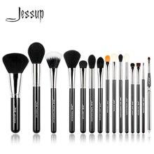 Jessup Pro 15 makyaj fırçası seti siyah/gümüş kozmetik makyaj pudra fondöten göz farı Eyeliner dudak fırçası aracı güzellik