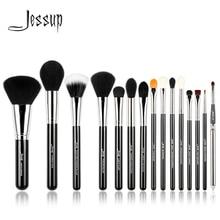 Jessup Pro 15 pcs Maquillage Pinceaux Noir/Argent Cosmétique Make up Poudre Fondation Fard À Paupières Eyeliner Pinceau À Lèvres Outil beauté