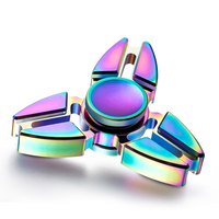 Rainbow Hand Tri-Spinner Rotating Torqbar Professional Attention To Autism Four Corners Crabs Tip Gyro Ball Rainbow Color