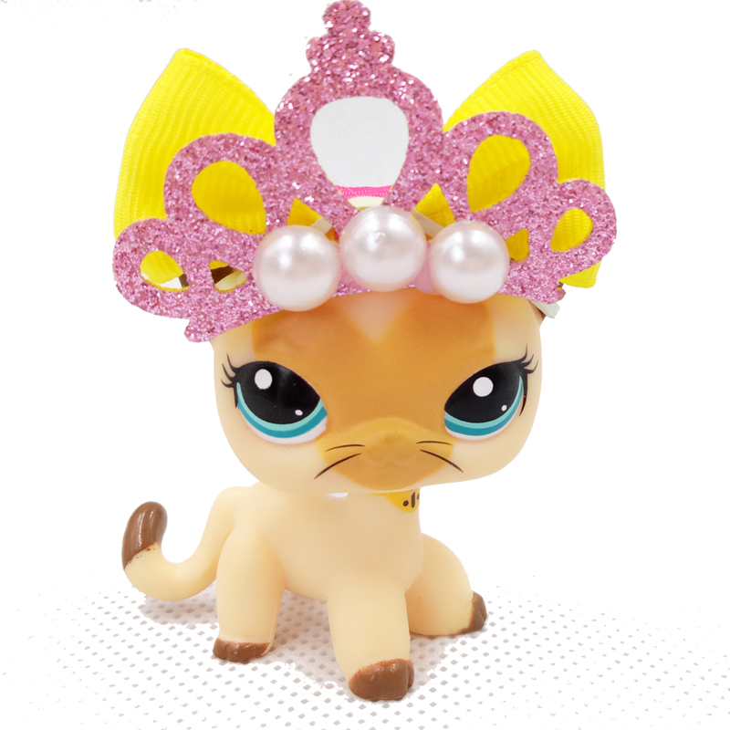 Real Pet Shop Cute Toys Stand 3573 Rare Short Hair Cat Yellow Tan Brown Kitty Old Real Collection Original With Accessories
