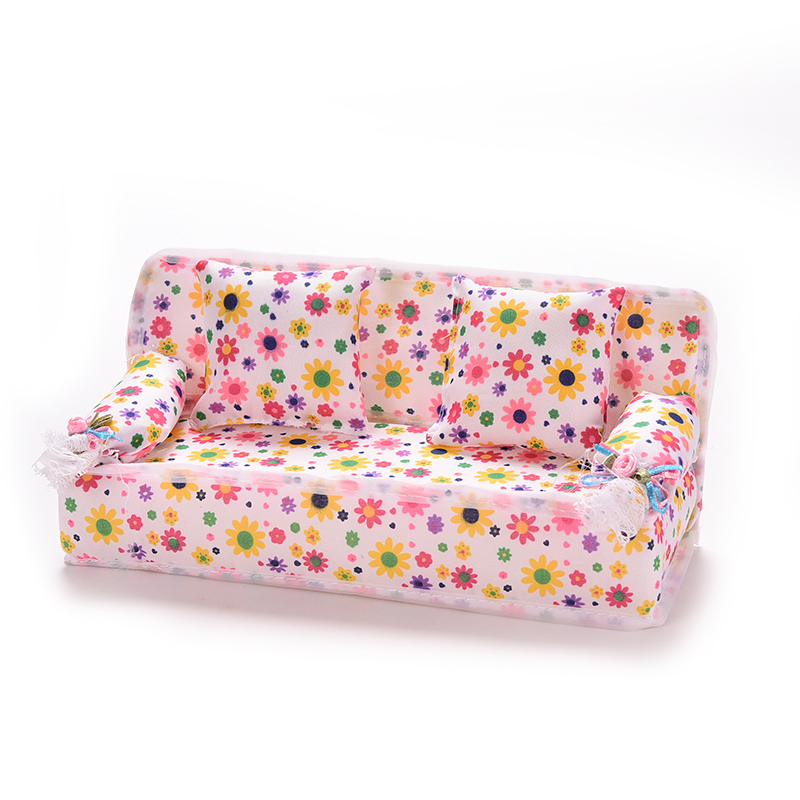 Hot Mini Dollhouse Furniture Flower Sofa Couch 20cm Couch + 2 Cushions  S Doll House Accessories Toys