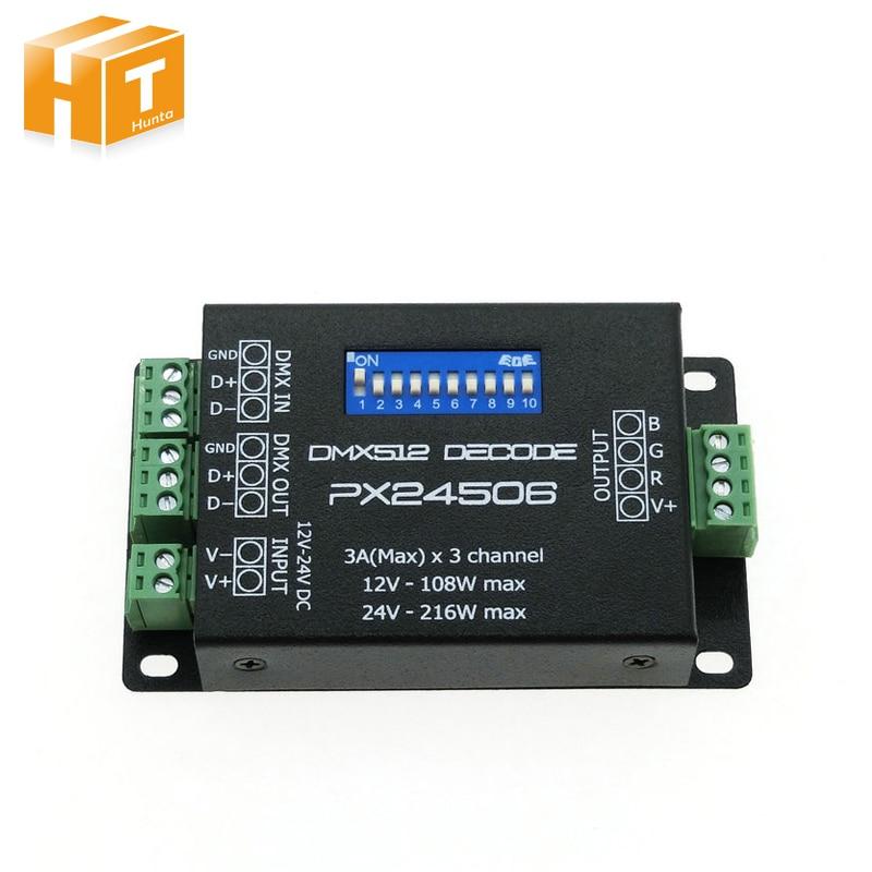 PX24506 DMX Decoder Driver RGB Amplifier Control Controller For LED Light 12-24V 216w px24506 dmx512 led decoder black 12 24v