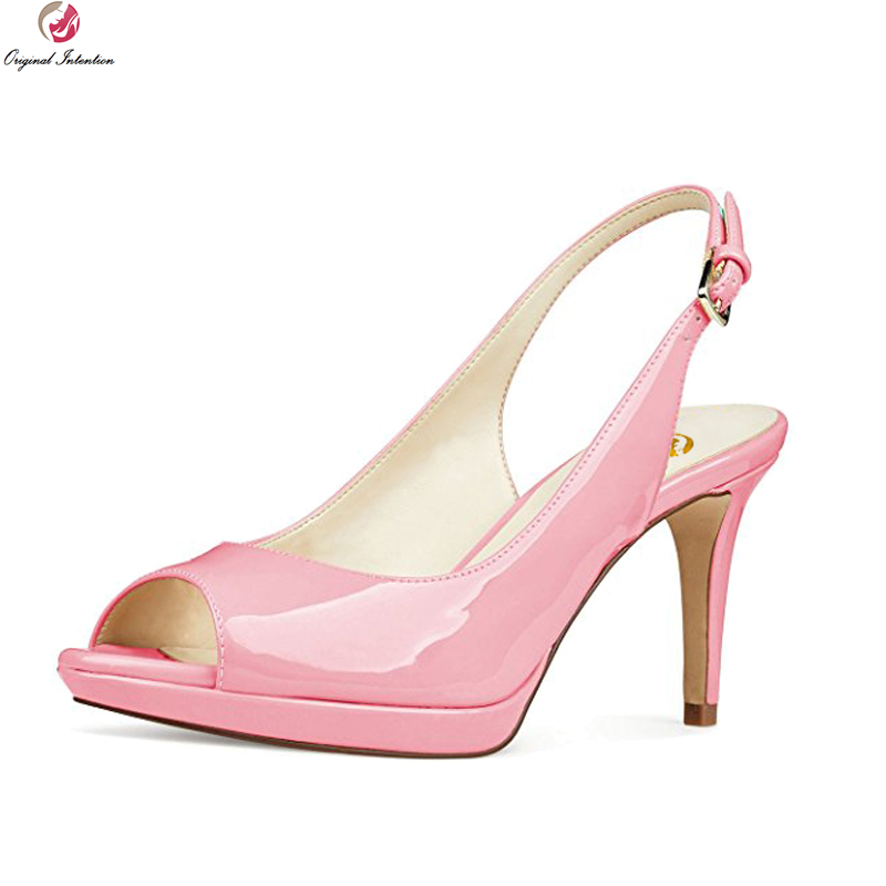 Original Intention New Sexy Women Pumps Fashion Peep Toe Thin Heels Pumps Patent Leather Blue Pink Nude Shoes Woman US Size 4-15 big size 40 41 42 women pumps 11 cm thin heels fashion beautiful pointy toe spell color sexy shoes discount sale free shipping