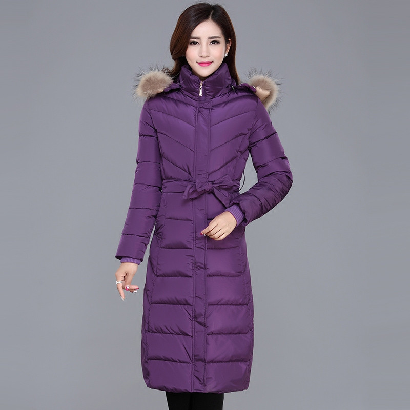 Hooded Solid Fur Collar Warm Long Thick Winter Coat Casual Cotton Padded Chaqueta Mujer Large Size Parka Winter Jacket TT3570 winter thicker large fur collar hooded cotton jacket women warmer padded parka high quality wadded ukraine coat chaqueta mujer