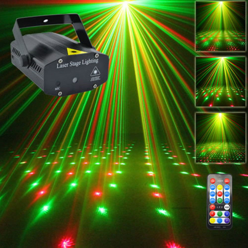 AUCD Mini Portable IR Remote RG Galaxy Meteor Shower Laser Projector Lights Dsico DJ Home Party Xmas Show Stage Lighting OI100B