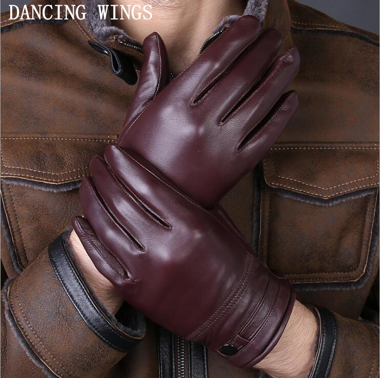 Brand Design Men's Gloves High Quality Real Genuine Leather Sheepskin Mittens Warm Winter For Fashion Male Luvas