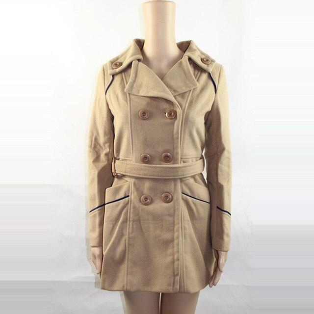 Women Woolen Coats 2017 New Female Winter Jackets Elegant Wool Blends Trench Coat Ladies Windbreaker Outwear Plus Size 3XL YL159