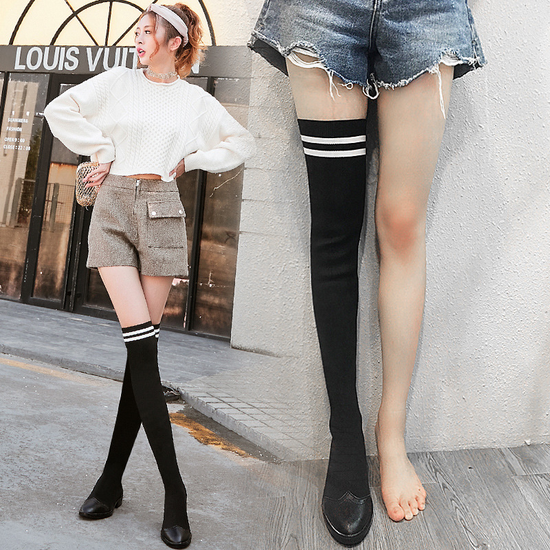 все цены на 2018 autumn and winter new women's boots flat bottom over the knee boots stretch socks boots wild long boots women.