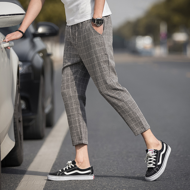 Ankle-Length Linen Plaid Pants