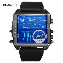 BOAMIGO Sport Fashion Mannen Militaire Dual Time Horloge Meerdere Tijdzone Luxe Chronograaf Horloge Lederen Vierkante Quartz Horloge