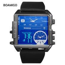BOAMIGO Sport moda męska wojskowy podwójny zegarek wiele stref czasowych luksusowy chronograf skórzany kwadratowy zegarek kwarcowy