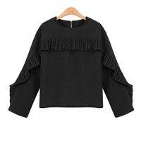 אירופה אופנתי חדש בסגנון מערבי בגדי סתיו חולצה להתנפנף שרוול ארוך לפרוע חולצה QMN7059