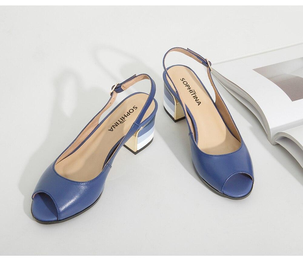 HTB1IRnnXgKG3KVjSZFLq6yMvXXah SOPHITINA Sandals Handmade Genuine Leather 2019 New Sexy Lady Peep Toe Sandals Square Heel Buckle Strap Classics Shoes Woman S22