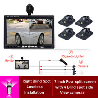 360 View Car Camera 4 Way Cameras Parking System For Rear Left Right Side Front Camera Night Vision with 7 Inch HD Car Monitor