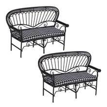 2 uds 1/12 casa de muñecas muebles en miniatura sala de estar jardín silla doble de hierro Vintage modelo de sofá de doble asiento