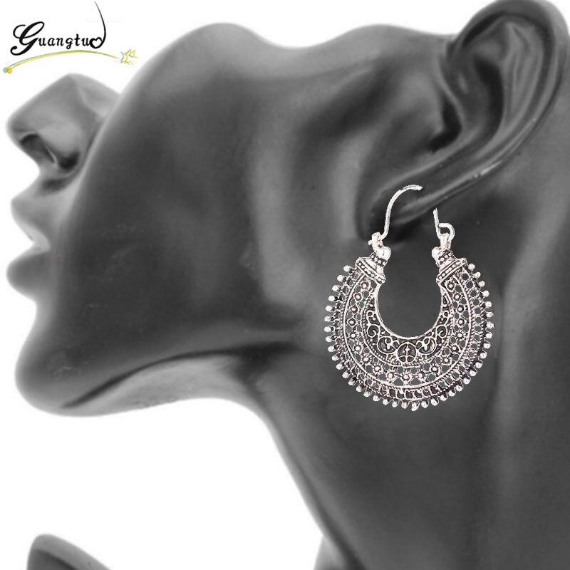 Retro Ethnic Style Hollow Arabesquitic U Shape Hoop Earrings For Women Fashion Jewelry Bohemia Moon Earring Bijoux Brincos