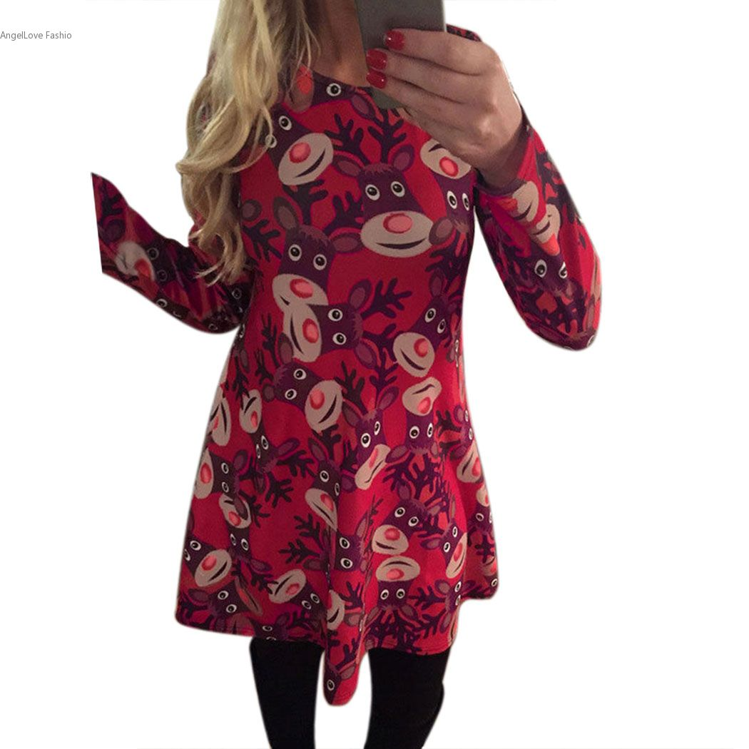 Christmas dress casual - High Quality Winter Autumn Dress Women Casual Long Sleeve Dress Deer Printing Christmas Party Swing Red